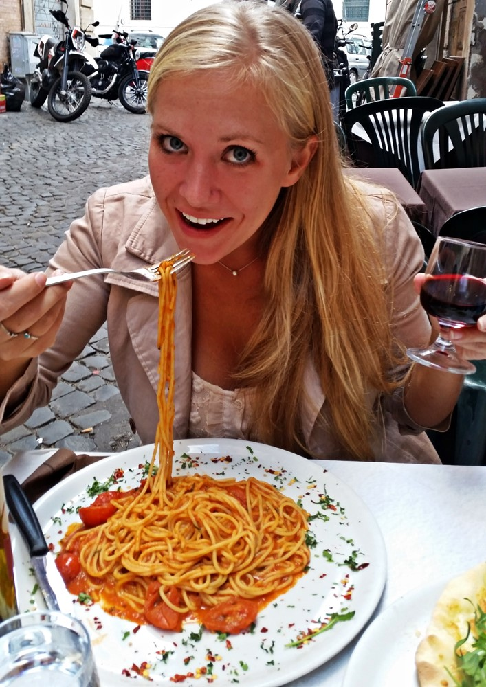 Eating Pasta in Rome