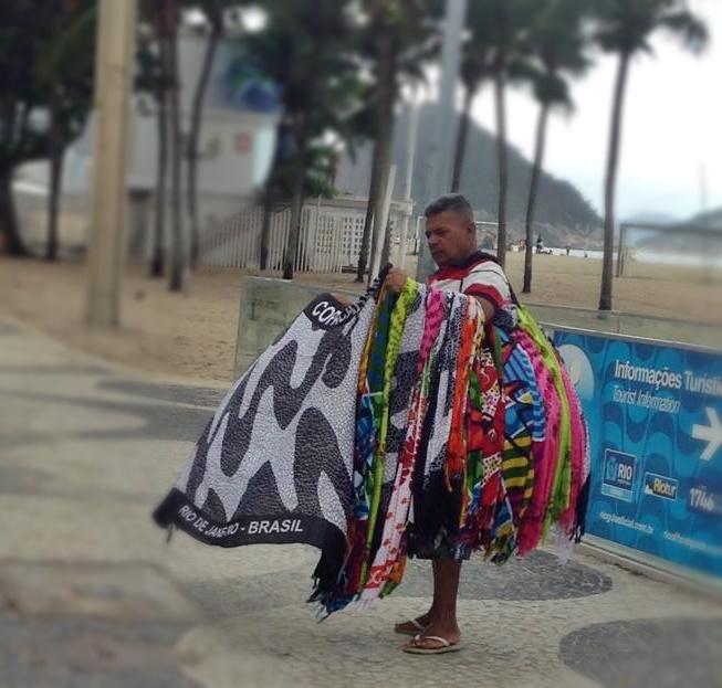 Vendor selling cangas in Rio de Janeiro, Brazil