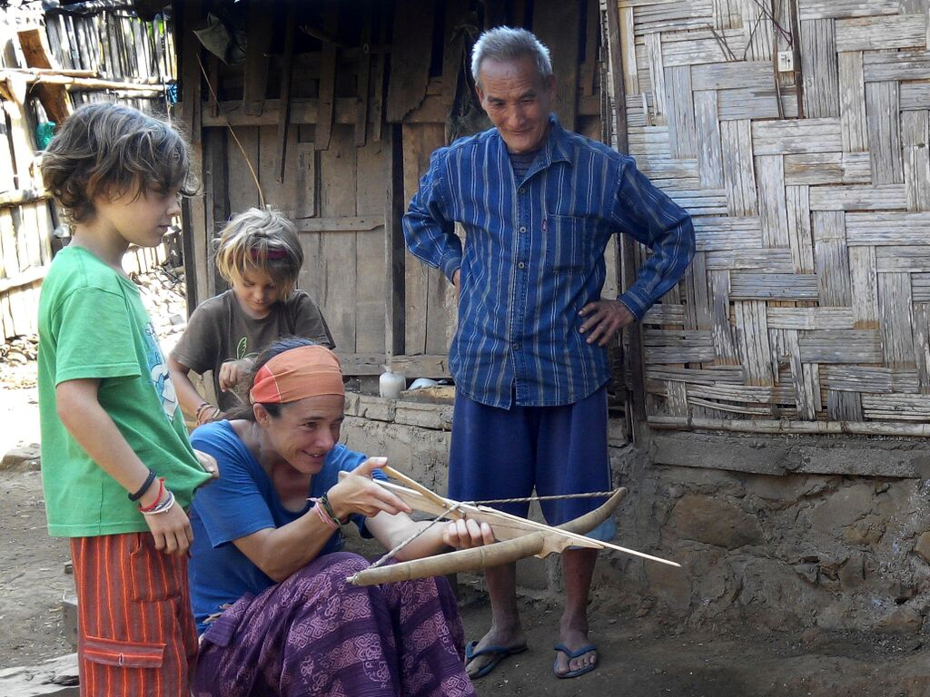 Backstreet Academy guests learning to make a crossbow in Luang Prabang