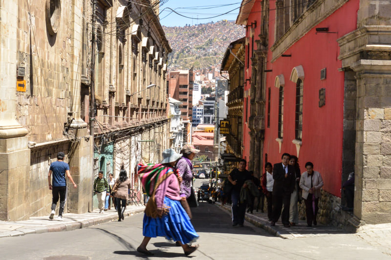 Steep hills in La Paz Bolivia