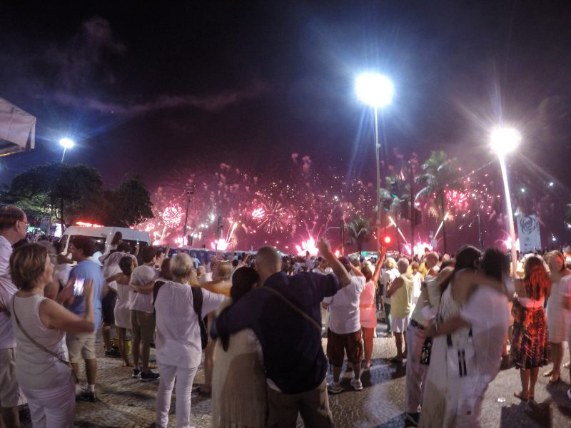 Celebrating New Years Eve in Rio de Janeiro with Fireworks
