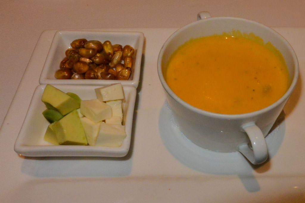Vegetarian Potato Soup at Casa Gangotena in Quito Ecuador