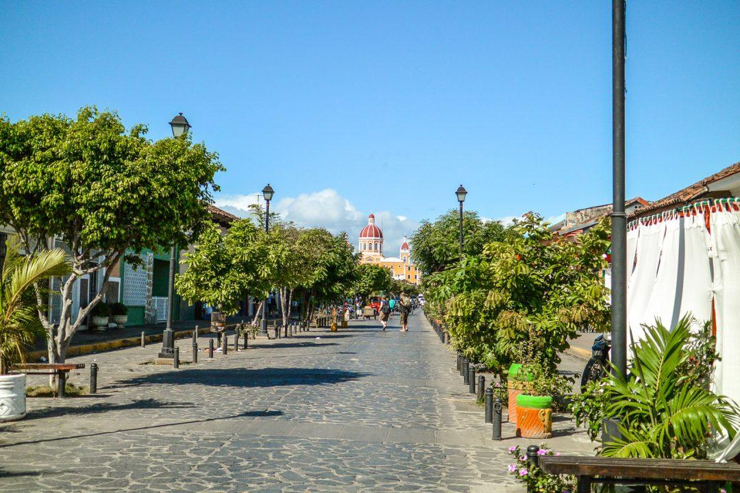 View of Calle Calzada in Granada, Nicaragua