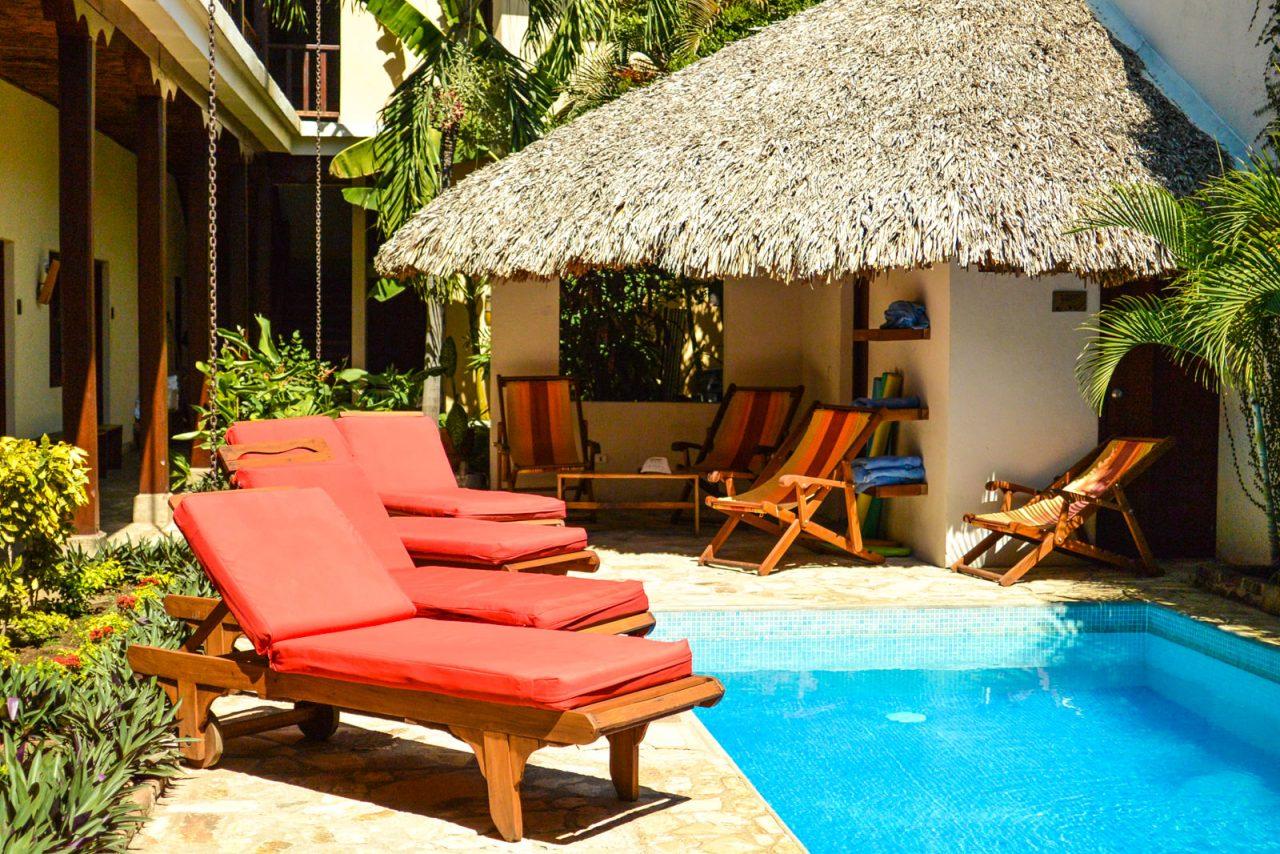 Pool area at Hotel Con Corazon, nonprofit hotel in Granada, Nicaragua