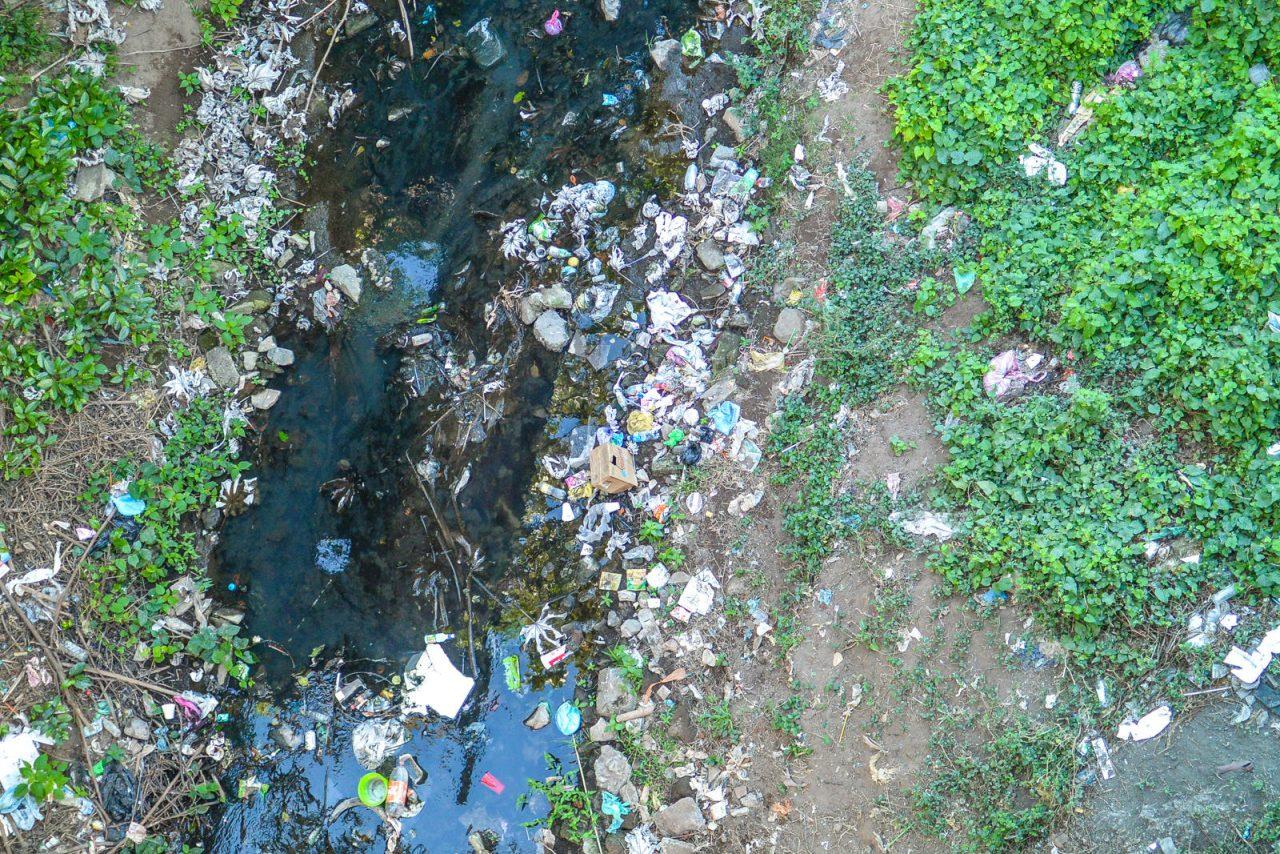 Garbage-filled river in Granada, Nicaragua