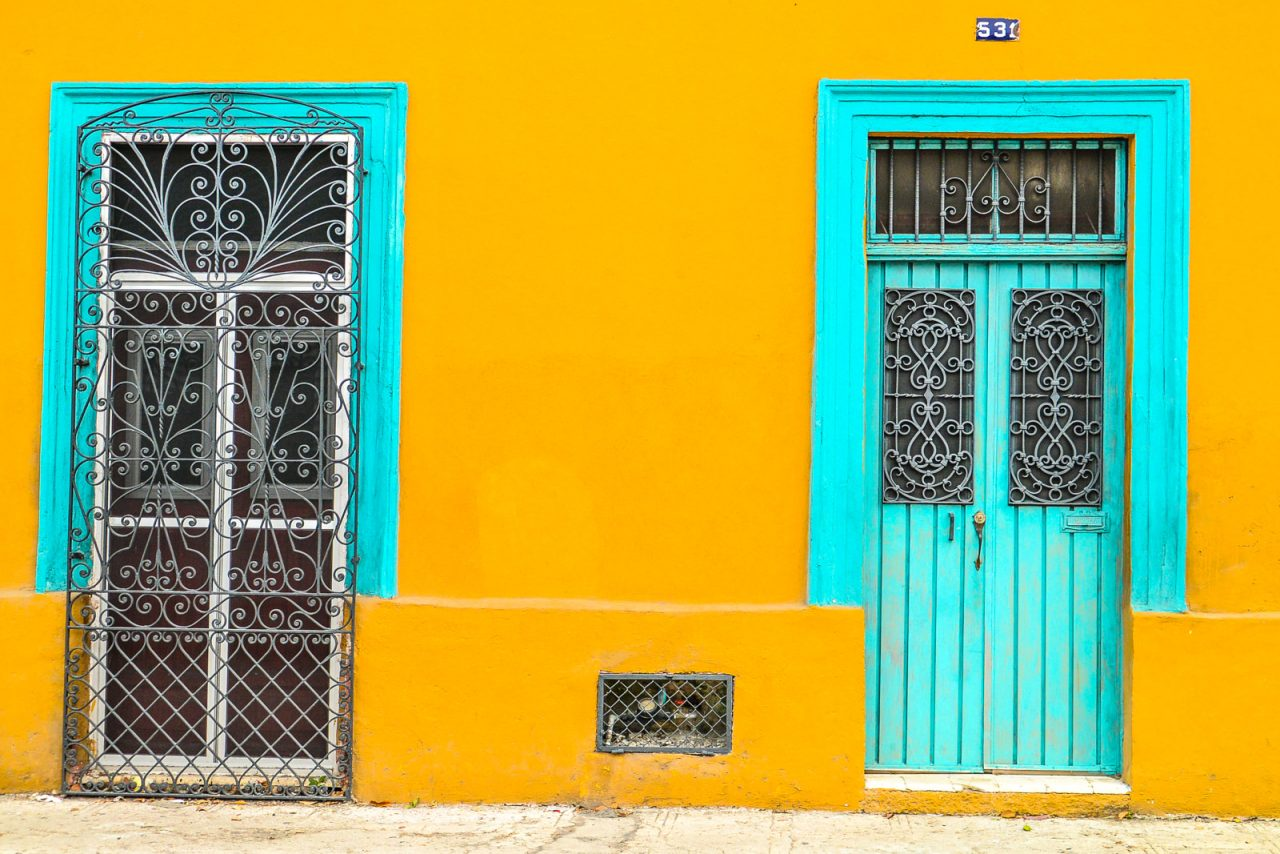 Colorful doors in Merida Mexico