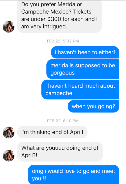Facebook text conversation