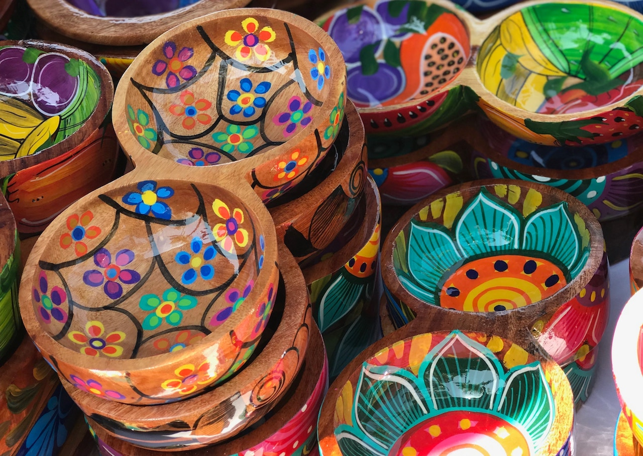 Carved wooden mexican bowls artisan handicrafts in Vallarta