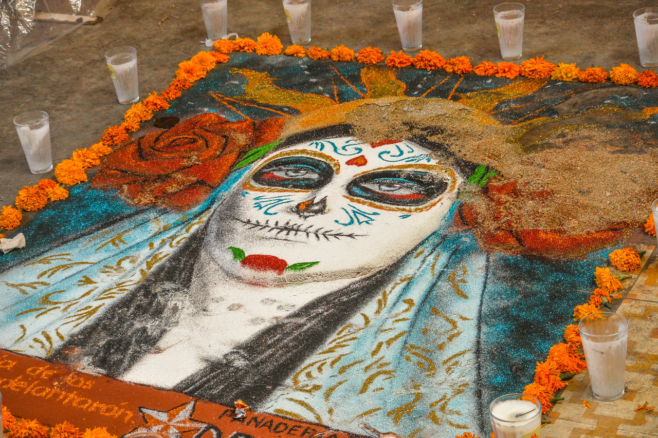 Sand art in Oaxaca for Dia de Los Muertos