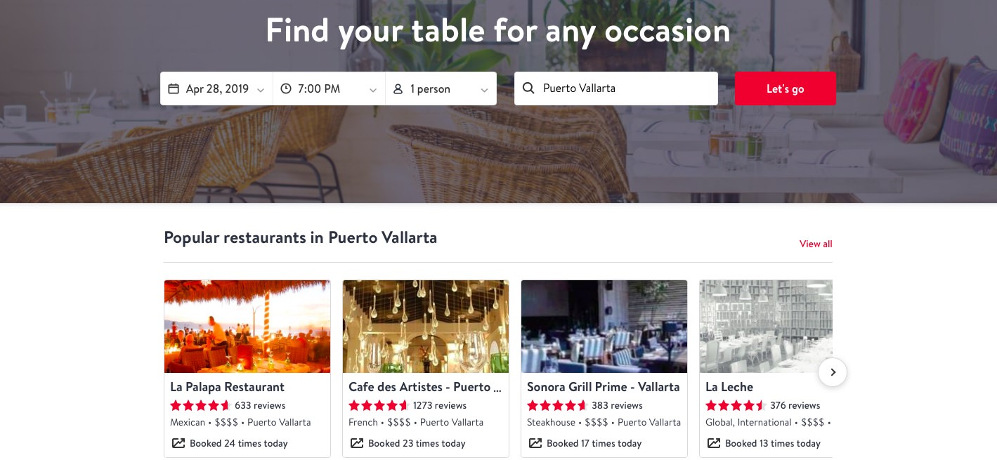 OpenTable is great for vegetarians