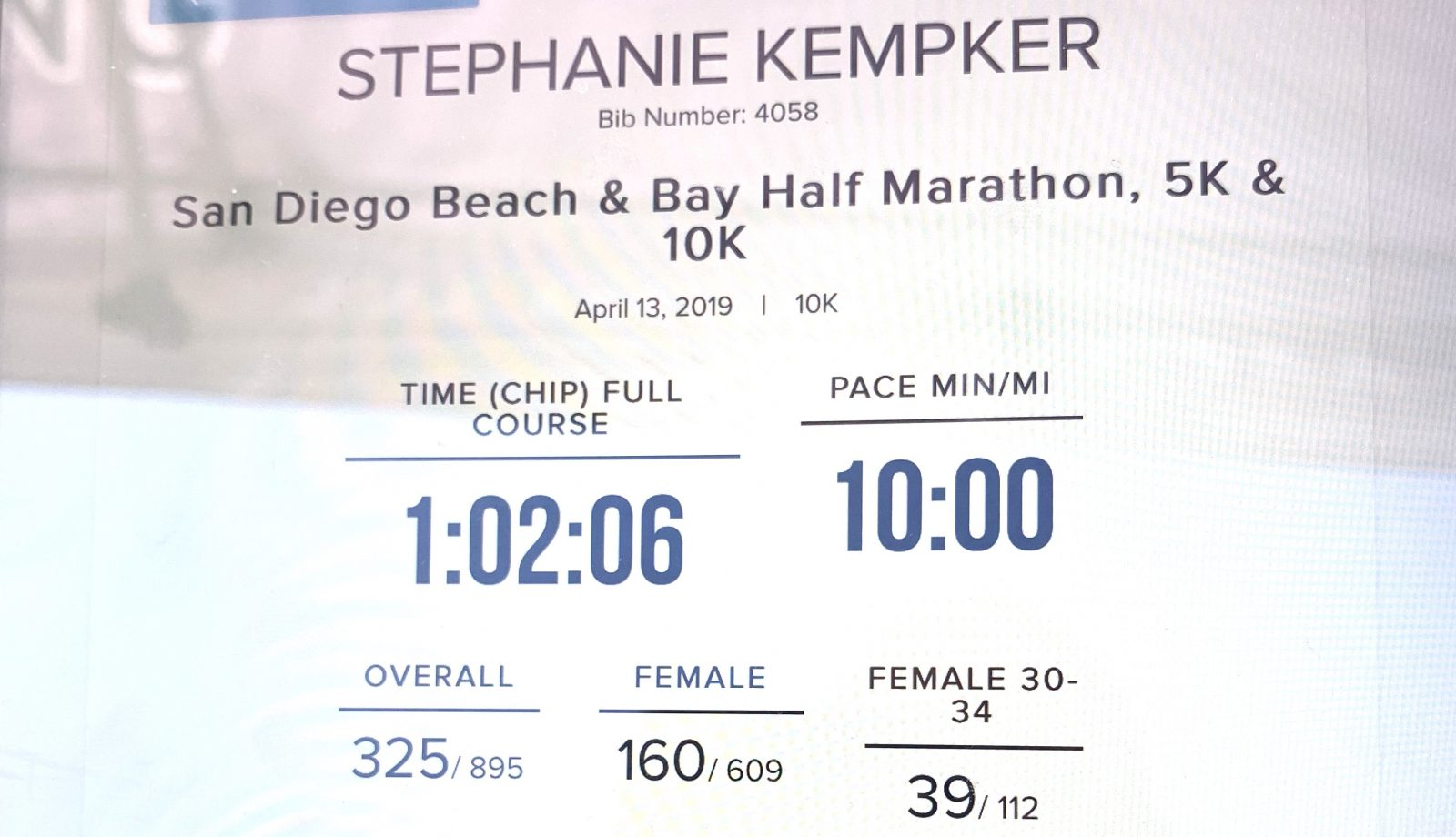 Beach and Bay 10k San Diego April 13 Results