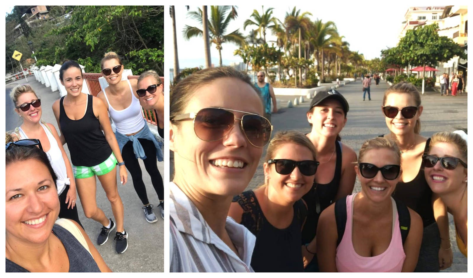 Collage of women's walking group in Puerto Vallarta